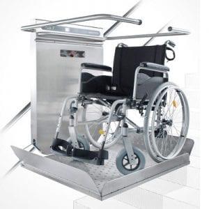 מעלון משטח משופע לכיסא גלגלים מדרגות ישרות ומעוקלות