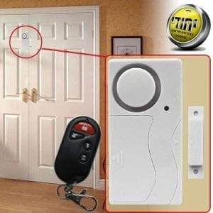 A door alarm or a window with a remote control