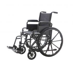 כסא גלגלים עם ידיות מתרוממות ורגליות פריקות