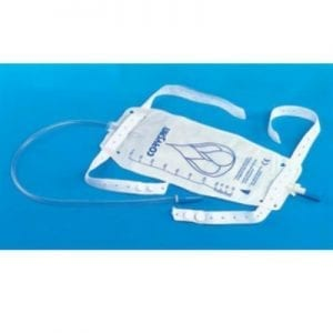 Urine bag with flush faucet and strips on foot