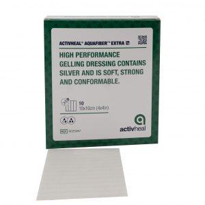 חבישת ג'ל לפצעים מפרישים ומזוהמים ACTIVHEAL Aquafibre  Extra AG  10*10