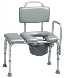 כסא העברה מרופד לאמבטיה עם קומודה לשירותים וידית צד שמאל