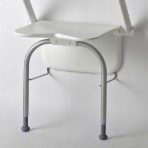 מושב מתקפל למקלחת עם ידיות מתקפלות ורגלית תמיכה