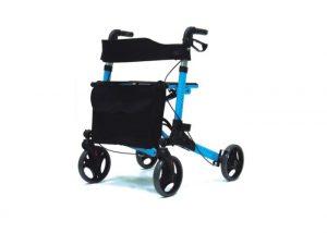 רולטור 4 גלגלים קל משקל קיפול כפול כחול / אדום Eurocare