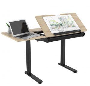 שולחן ישיבה עמידה חשמלי מתכוונן + הטיית משטח עבודה