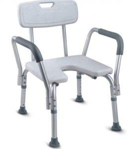 כסא רחצה טלסקופי עם פתח קדמי U