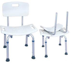 כסא רחצה טלסקופי מאלומיניום עם משענת גב
